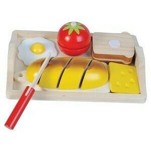 New Classic Toys - Frühstücksteller Brot Ei Käse zum schneiden Holz