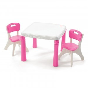 Lifestyle Table And Chairs Pink/White - Step 2 (Step2-1)