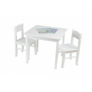 Weißer Holztisch & 2 Stuhl Set -  (TF5303)